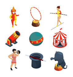 circus icon set people animals magician show vector image