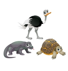 Funny Australian animals ostrich turtle and Komodo vector image