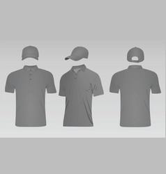 grey baseball cap and polo t shirt vector image vector image