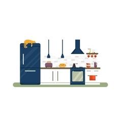 Kitchen interior flat vector image