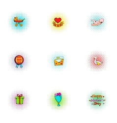 Mothers day icons set pop-art style vector image vector image