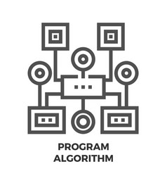 program algorithm line icon vector image vector image