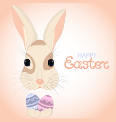 Easter bunny keeps paschal eggs in rabbits paws vector