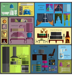 House remodeling infographic Set flat interior vector image