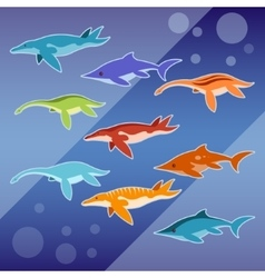 Set of water jurassic reptiles vector image