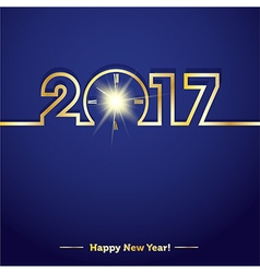 2017 Happy New Year with creative midnight clock vector image