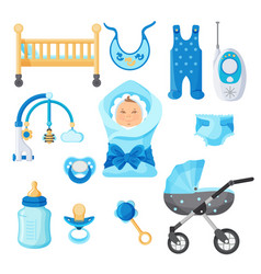 baby boy design elements collection on vector image