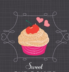 Chalkboard style poster with cupcake vector image vector image