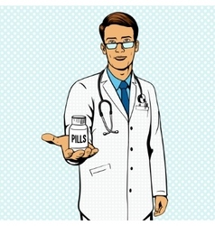 Doctor holding vial with pills pop art vector image vector image