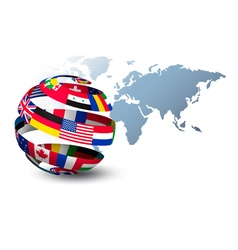 Globe made out of flags on a world map background vector image