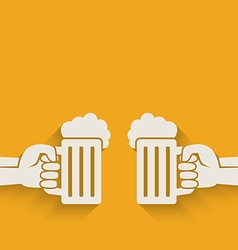 hands with beer mugs vector image vector image
