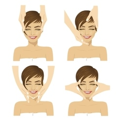 young woman in spa salon getting facial massage vector image vector image