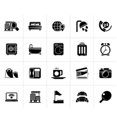 Black Hotel and motel services icons 1 vector image vector image