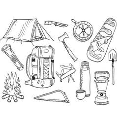 Camping set - sketch vector image