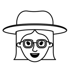 female face with glasses short hair and hat in vector image