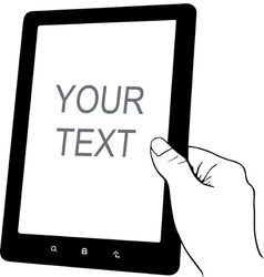 Hand holding tablet pc vector image