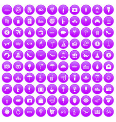 100 honeymoon icons set purple vector