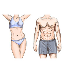 Athletic couple young male and female full color vector