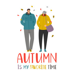 autumn couple young people in falling leaves vector image