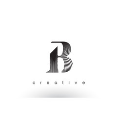 B logo design with multiple lines and black and vector
