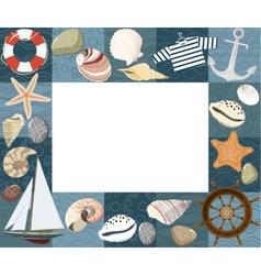 Baby marine photo frame or card vector image