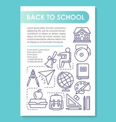 Back to school brochure template layout academic vector
