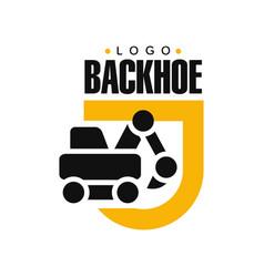 backhoe logo design excavator equipment service vector image