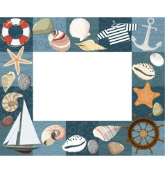 Bamarine photo frame or card vector