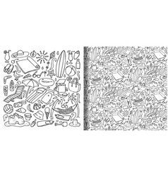 beach objects hand drawn doodle set and seamless vector image