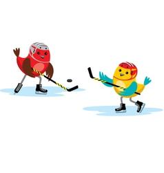 Birds play hockey vector image