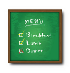 blackboard and text food menu with check mark vector image