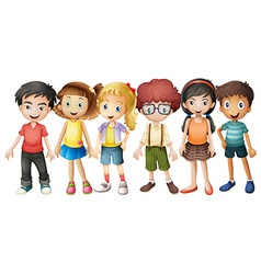 Boys and girls standing in group vector image