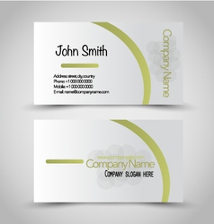 Business card set template green and silver color vector