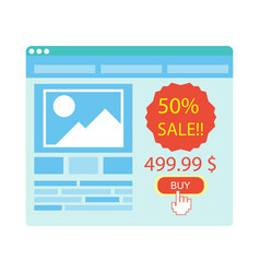 Buy button on blue website purchase with 50 vector