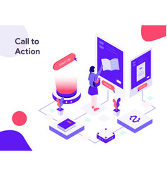 call to action isometric modern flat design vector image