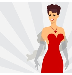 Card with beautiful pin up girl 1950s style vector