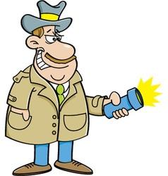 Cartoon detective holding a flashlight vector