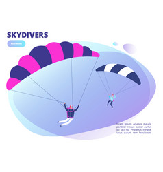 cartoon skydivers background web page vector image