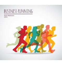 Color group people business running vector image