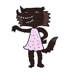 comic cartoon wolf girl vector image