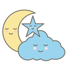 cute cloud with moon and star kawaii characters vector image