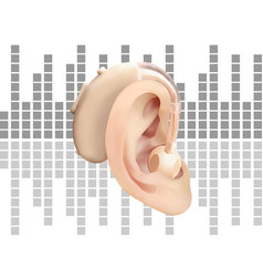 digital hearing aid behind the ear on the vector image