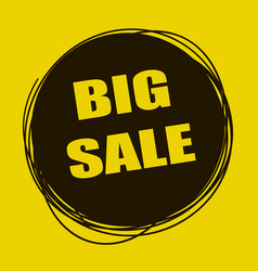 Doodle sale tag big sale banner black and yellow vector