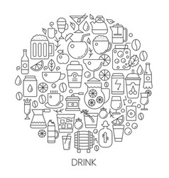 drink infographic icons in circle - concept line vector image