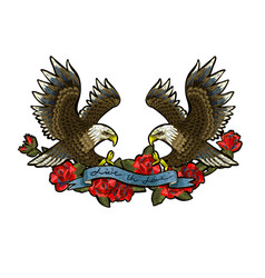Embroidery with roses and an eagle-symbol vector