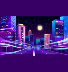 empty road in megapolis at night vector image