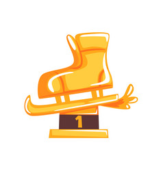 figure skating award for first place in cartoon vector image