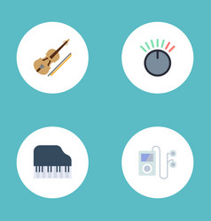 Flat icons knob mp3 player fiddle and other vector