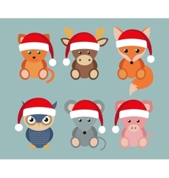 funny animals in Santa hats vector image