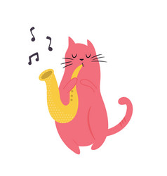funny cat playing saxophone vector image